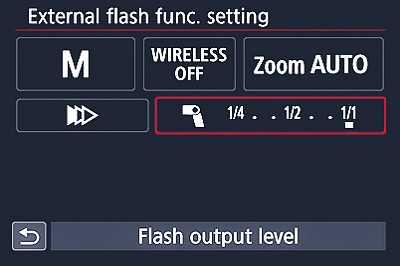 External flash settings