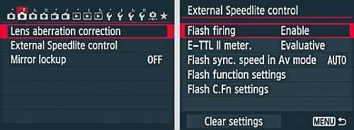 External flash control