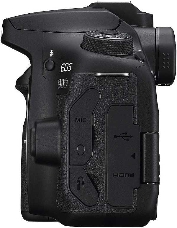 Canon EOS 90D left side view