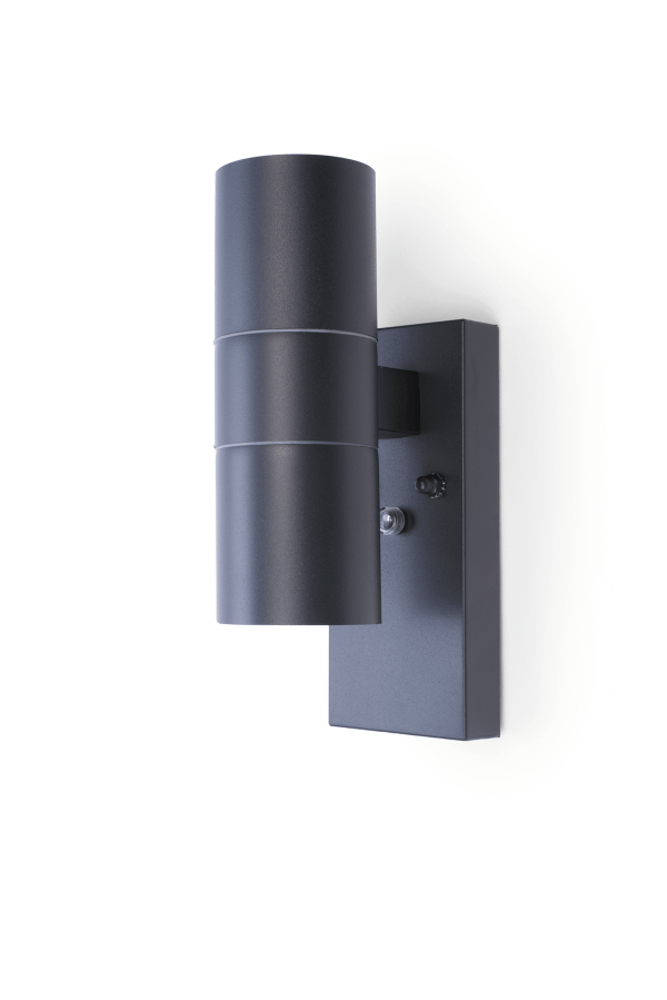 Coral Up and Down Wall Light with Photocell Sensor - Anthracite Grey