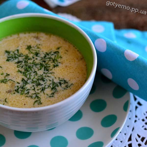 Грибний суп з плавленим сиром