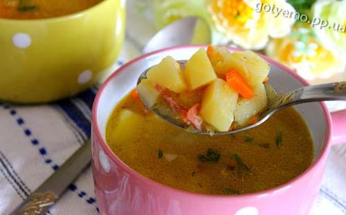 рецепт супу з сочевицею і копченою ковбасою