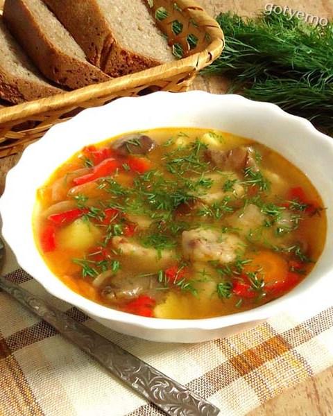 Овочевий суп з квасолевими галушками