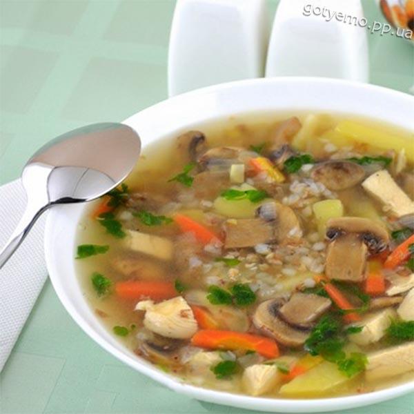 Грибний суп з гречкою