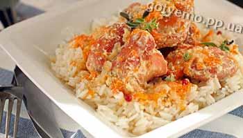 рецепт кролика у сметані з рисом