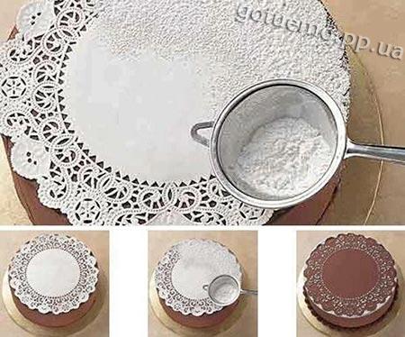 декор торта цукровою пудрою