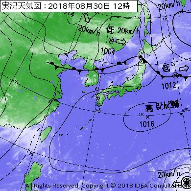 台風21号2018の日本近海の最新の天気図