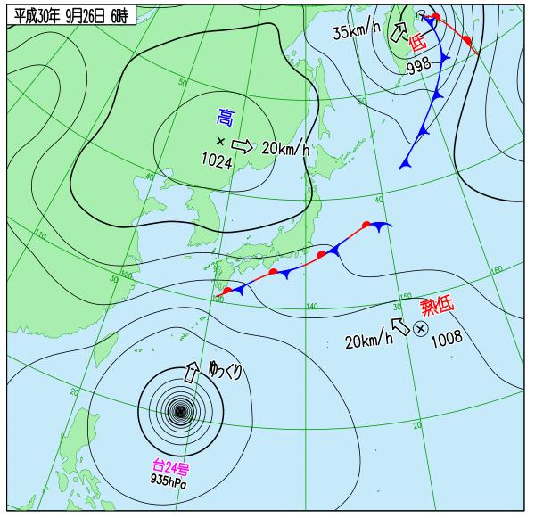 台風24号天気図