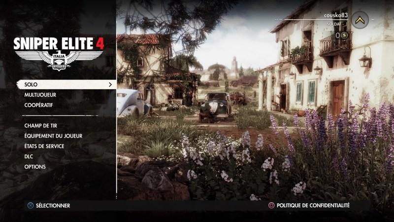Menu Sniper Elite 4