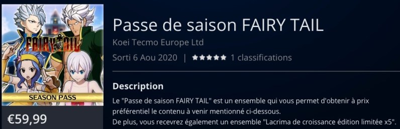 DLC season pass Fairy Tail