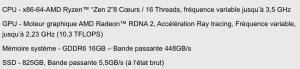 Spécifications PS5