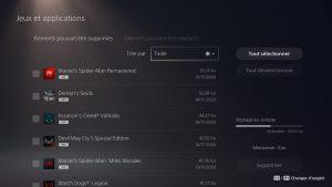 Occupation disque jeux PS5