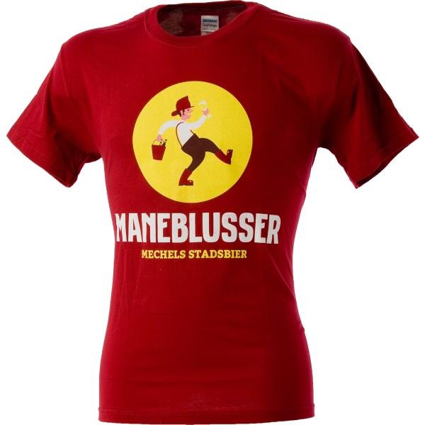 Rode T-shirt met Maneblusser logo - voorkant