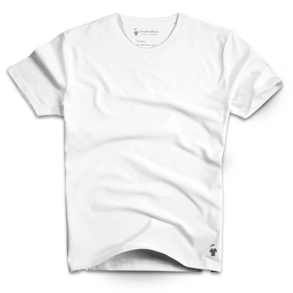 T-shirt blanc col rond pour homme