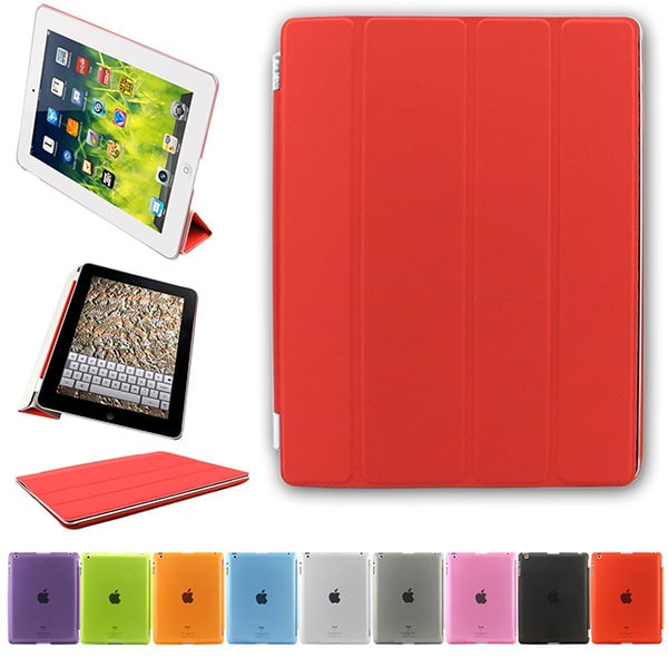 Besdata® Funda Carcasas diseñado poliuretano para Apple iPad 2/3/4 Apple iPad Smart Cover (IPad 2/3/4 Rojo)