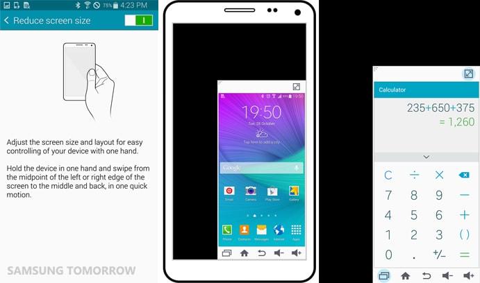 Utilizar el Galaxy Note 4 con una sola mano