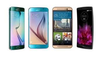 4 smartphones Android de gama alta que podemos encontrar en preventa en España: Samsung Galaxy S6 y S6 Edge, HTC One M9 y LG G Flex 2
