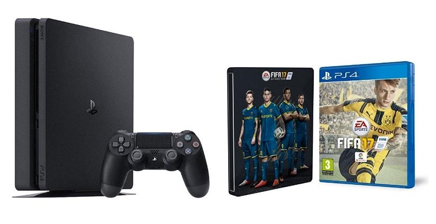 PlayStation 4 (PS4) - Consola Slim 1 TB + FIFA 17 + Steelbook por menos de 300 euros