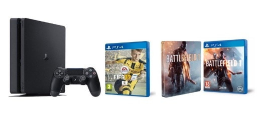 PlayStation 4 Slim (PS4) 1TB - Consola + FIFA 17 + Battlefield 1 + Steelbook