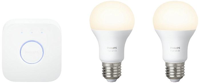 Las mejores bombillas inteligentes inalámbricas LED: Philips Hue White - Set de inicio 2 bombillas LED E27