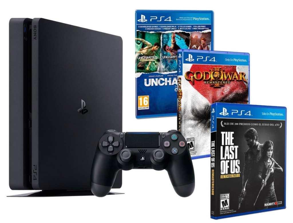 Playstation 4 Consola PS4 Slim 500gb + 5 Juegos - The Last of us + God of war 3 + Uncharted Nathan Drake Collection - MEGAPACK