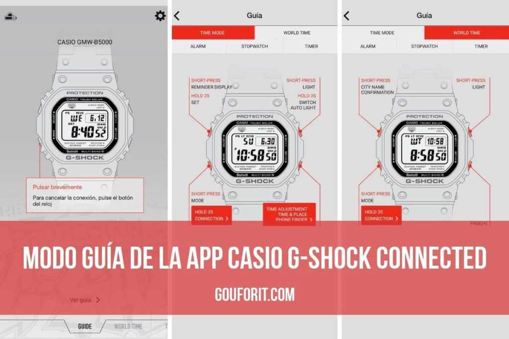 Modo guía app Casio G-Shock Connected