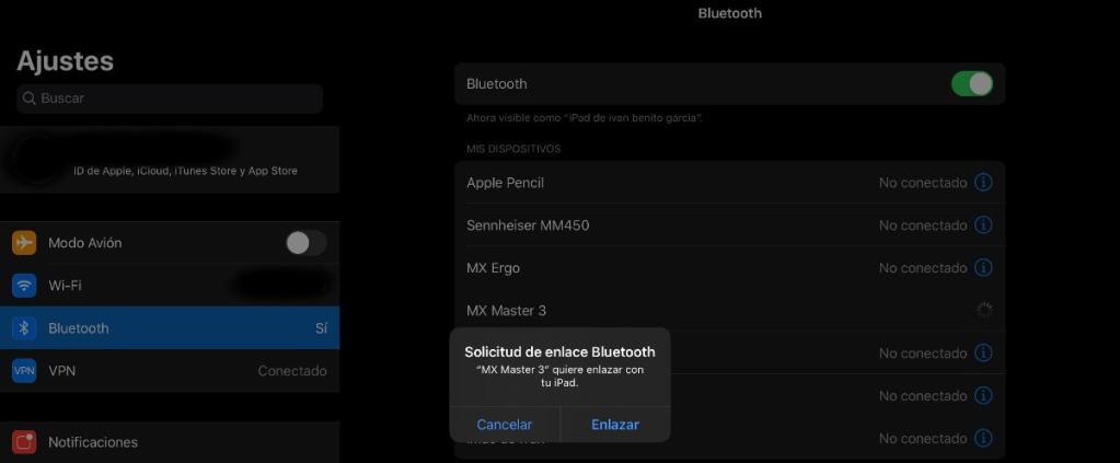 Usar un ratón o trackpad Bluetooth con el iPad Pro