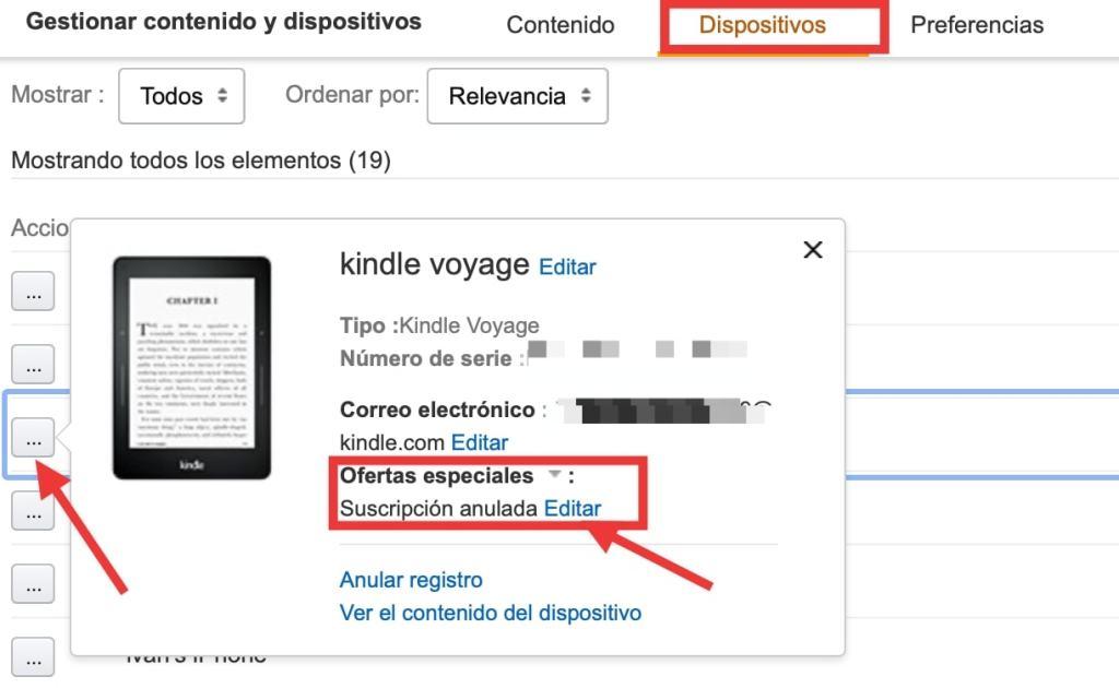 cómo quitar las ofertas especiales del Kindle