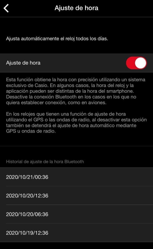 ajuste hora casio g-shock app