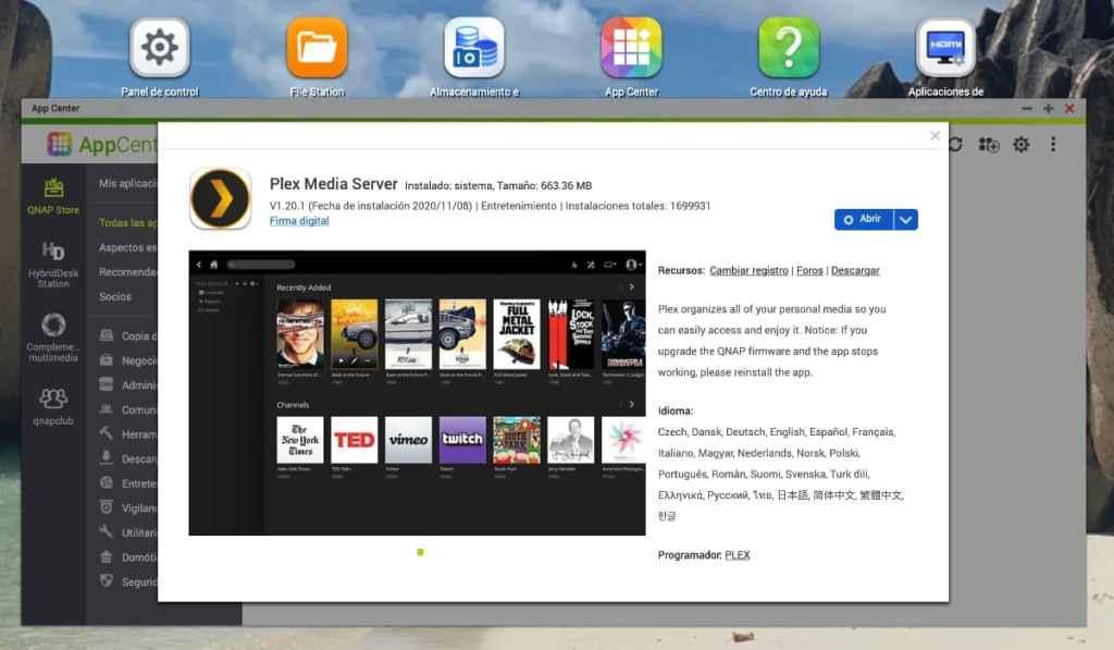 PLEX Media Server en la tienda de apps de QNAP