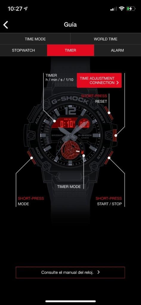 Casio G-Shock GST-B300: app smartphone ajustes reloj