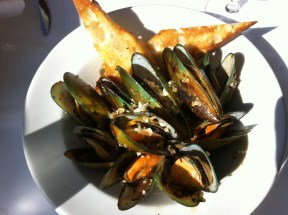 New Zealand green-lipped mussels at the Top of the Market Restaurant