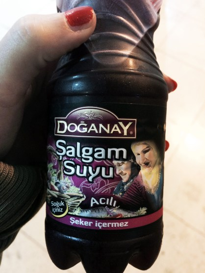 Salgam suyu, made with the juice of pickled red carrots