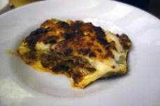 Lasagna at Osteria Broccaindosso in Bologna