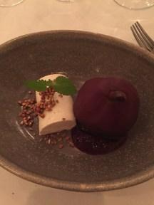 Pears poached in elderflower, vanilla parfait,