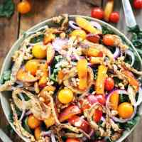 Kale, Caramelized Peaches, and Crispy Onion Salad