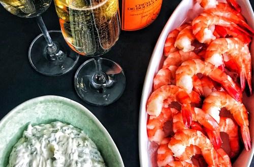 Shrimp with cilantro lemon mayo dip