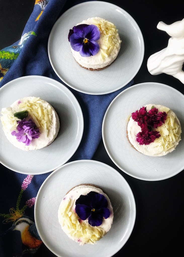 Mother's Day flower cake - cheese cake with edible flowers and white chocolate