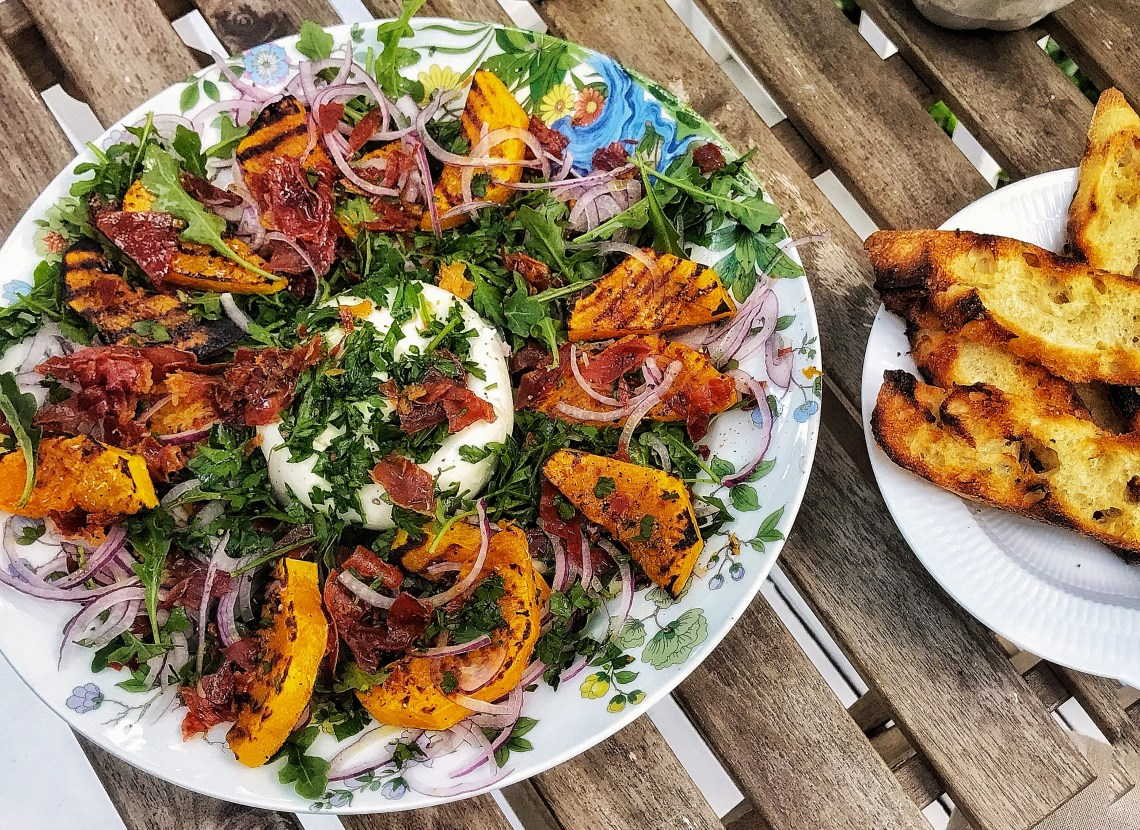Roasted butternut squash salad with Parma ham and Burrata