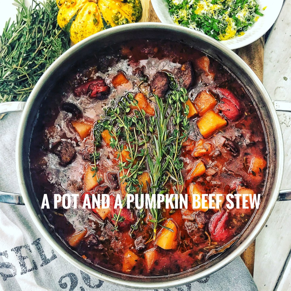 Creamy pumpkin soup with scallops and more Halloween recipes. Here, beef stew with pumpkin, red wine and herbs