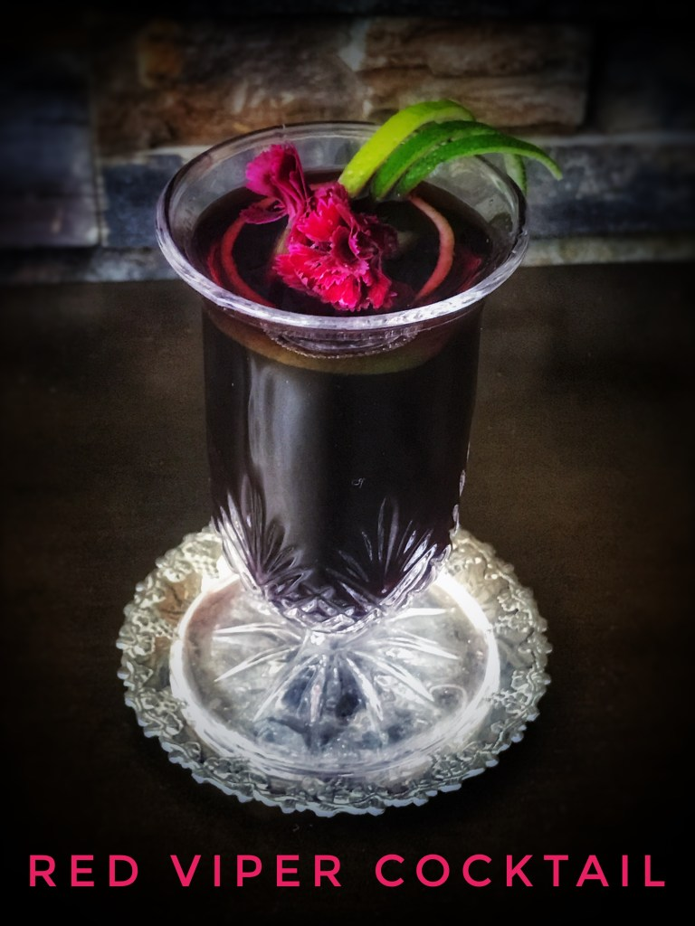 Halloween recipes - Red Viper cocktail with red wine and rum
