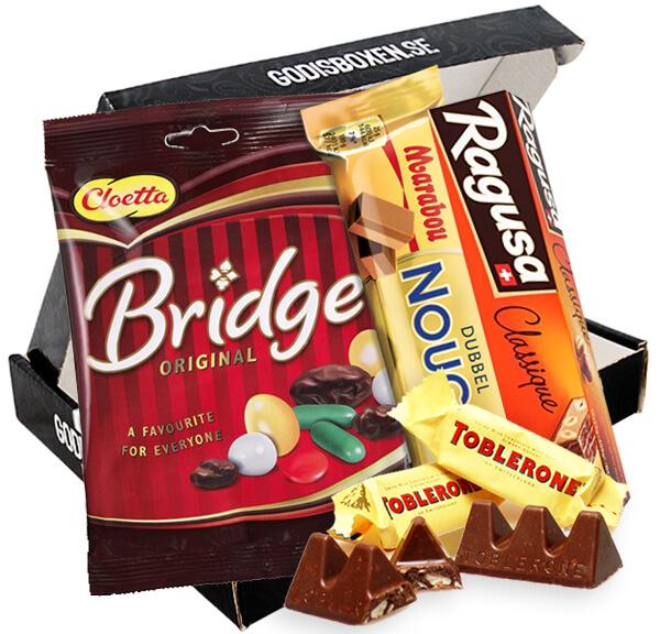 Send sjokoladeboks med ragusa bridge, marabou nougat og liten toblerone