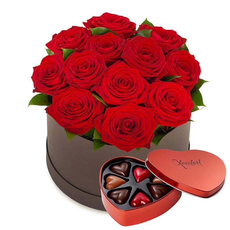 Gavekurv: roser og sjokoladepraliner
