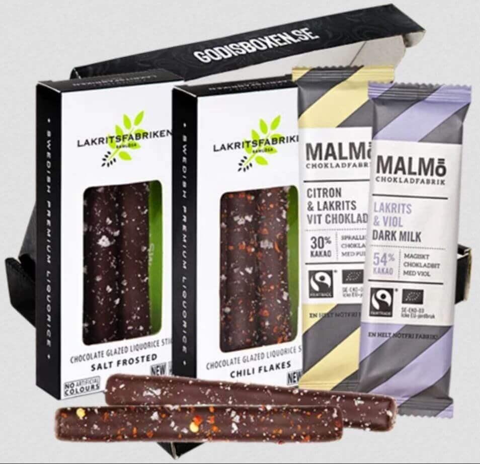 Presentkorg: Malmö chokladfabrik med lakrits och choklad