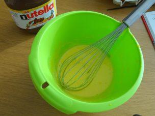 Creme brulee nutella mélange jaune d'oeuf sucre