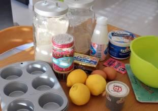 Ingrédient pour des cupcakes au citron et au oavot