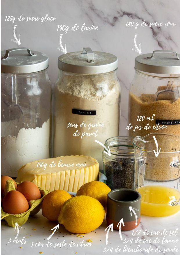 Ingrédients bundt cake citron pavot