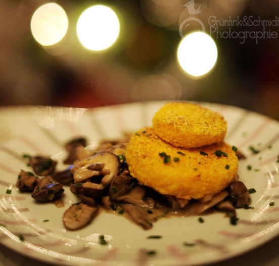 Fried Polenta Medals on Mushroom Ragout klkl