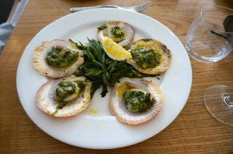 Grilled Hervey Bay Scallops with hazelnut & coriander butter