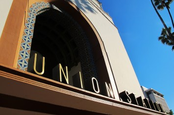 sign close Union Station downtown Los Angeles